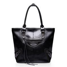 Black leather fringed shoulder bag