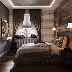 Bedroom Modern Loft Dreams New Ideas Home Bedroom, Bedroom Wall, Master Bedroom, Bedrooms, Contemporary Bedroom Decor, Modern Bedroom, Apartment Furniture, Bedroom Furniture, Home Building Design