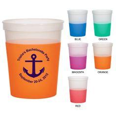 16 oz Bachelorette Color Changing Mood Cups (Clipart 6128) Nautical Theme - Bachelorette Party Favors - Bachelor Mood Stadium Cups