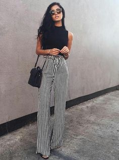 Striped pants + high neck black tank.