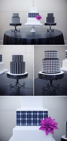Black and white wedding cakes are hip and stylish, Melissa Jill Photography