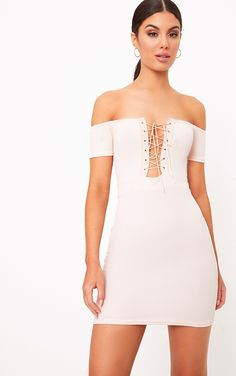 Nude Bardot Corset Detail Bodycon DressSlay all day in this mini dress. Featuring soft stretchy m...