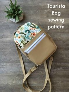Tourista Bag sewing pattern. It's a backpack, a crossbody, a shoulder bag, and a toiletry case all in one. A great small bag for all your essentials and the perfect mini backpack to sew for vacations. Kids backpack sewing pattern. Small backpack to sew. DIY backpack. #SewModernBags #SewACrossbodyBag #CrossbodyBagSewingPattern #SewABackpack #BackpackSewingPattern #SewAShoulderBag #ShoulderBagSewingPAttern