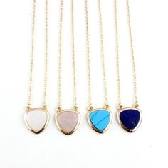 "Simple stone necklace The perfect simple necklace for everyday wear. Choose between rose quartz, white stone, and lapis lazuli. 18.5"" with 2"" extender. J Jewelista Jewelry Necklaces"