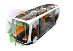 Electric Urban Bus Design for EvoBus. Automatic, driverless concept with organic, tree-shaped handles. Mercedes Electric, Mercedes Benz, Mobiles, Future Transportation, Train Truck, Go Car, Rail Car, Truck Design, Futuristic Cars