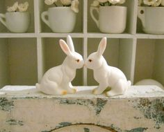 Tiny Old Lefton Bunny Rabbit Pair by Somethingcharming on Etsy