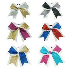 Adorable and sturdy but won't break the bank. 7 Inch Big Shimmer Ribbon Glitter Cheer Bows Sparkly Hair Bows with Ponytail Holder For Cheerleading Girls Big Cheer Bows, Cheerleading Hair Bows, Cheerleading Stunting, Cheer Pics, Softball Pics, Toddler Hair Bows, Baby Hair Bows, Hair Bow Supplies
