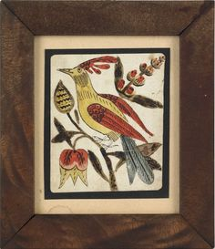Pennsylvania watercolor and ink on paper fraktur drawing with a colorful bird perched on a tulip tree, dated verse, 1833, 4 1/4'' x 3 1/2''.