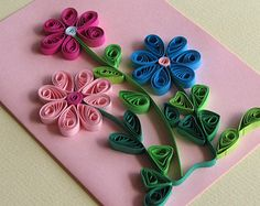 Flowers Quilling Birthday Card, Flowers Handmade Mother's Day Card, Flower Birthday Card, Blank birthday card
