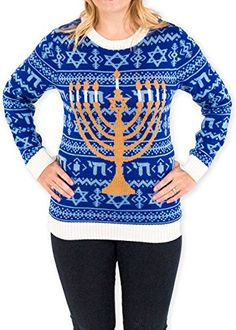 Womens Chanukah is Funakah Ugly Hanukkah Sweater in Blue By Festified Large -- Details can be found by clicking on the affiliate link Amazon.com.