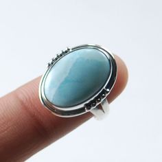 Natural Larimar Dominican Gemstone 925 Solid Sterling silver Ring US Size-7 #Rananjay #HandmadeSolitairering