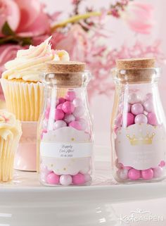 Vintage Milk Bottle Favor Jar - Princess Party (Set of (Available Personalized) Pink Party Favors, Princess Party Favors, Disney Princess Party, Birthday Party Favors, Birthday Party Decorations, Birthday Parties, Birthday Crowns, Cinderella Party, Pink Princess
