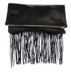 Clare Vivier Fold-Over Fringe Clutch Clare Vivier, Designer Bags Online, Fringe Trim, Holiday Gift Guide, Black Leather, Gifts, Stuff To Buy, Holidays, Presents