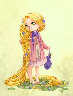 """Disney girls dressed in Mori Girl style - Rapunzel from """"Tangled"""" - Art by morganevelten.tumblr.com - For a quick overview on what Mori Girl style is, click here: http://www.buzzfeed.com/cathyngo/forest-girls-rock#.xkpZo1Lrdb"""