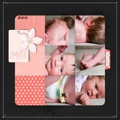 like the big square and rounding on the corners Layout by Kayleigh #scrapbook #layout #baby