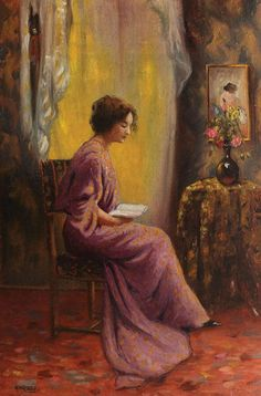 "Woman Reading. Mihai (Misu) Teisanu (Romanian, 1884-1944).  ""Her reputation for reading a great deal hung about her like the cloudy envelope of a goddess in an epic."" ― Henry James, The Portrait of a Lady"