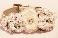 White Wedding Dog Collars with white flowers and Rhinestone,  High Quality leather Dog Collar, Chic on Etsy, $45.00