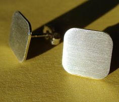 10mm Square With Rounded Corners Post Earrings by phoebestreasure