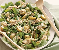 Arugula, Potato, and Green-Bean Salad with Creamy Walnut Dressing The satisfying crunch of walnuts gives a helping of salad greens added Green Bean Salads, Green Beans, Bean Salad Recipes, Sandwich Recipes, Arugula Recipes, Pork Recipes, Lunch Recipes, Dinner Recipes, Dessert Recipes
