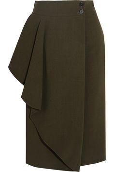 Alexander McQueen | Draped stretch-crepe wrap skirt | NET-A-PORTER.COM