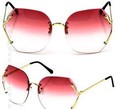 4c3e6dc3af Red Ombre Oversized Rimless Retro Sunglasses