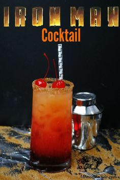 Iron Man Cocktail Recipe To Sip While Watching Avengers: Infinity War Marvel Fans this is an alcoholic beverage for you! This Iron Man Cocktail Recipe will help you get through the marathon of avengers movies before Inifinity War! Bar Drinks, Cocktail Drinks, Yummy Drinks, Cocktail Recipes, Cocktails For Men, Disney Cocktails, Vodka Cocktails, Alcohol Drink Recipes, Mixed Drink Recipes