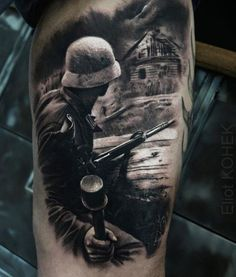 Realistic War Tattoo