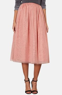 Topshop Pleated Mesh Midi Skirt Pink