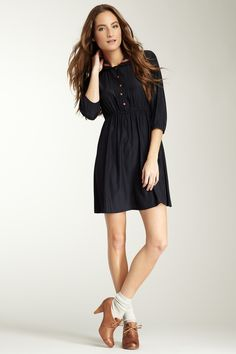 Tulle Piping 3/4 length sleeve dress