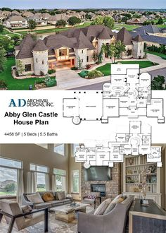 This magnificent Abby Glen Castle home plan sits as a sprawling estate. It's unique and luxurious two-story castle floor plan has the characteristics of an eloquent French chateau, but the cozy…More Castle Floor Plan, Castle House Plans, House Plans Mansion, Family House Plans, Castle Homes, Luxury Floor Plans, Luxury House Plans, Dream House Plans, House Floor Plans