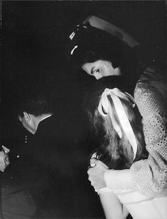 Jacqueline Kennedy Onassis with Caroline at the wedding of Jackie to Ari Onassis, October 1968.