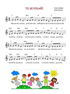 To se podaří Music Do, Preschool Projects, Dinosaur Party, Kids Songs, School Classroom, Holidays And Events, Diy For Kids, Sheet Music, Kindergarten