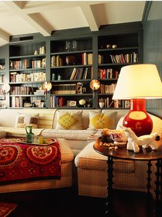 Like the color of the bookcases and wall.  Is it gray or dark green?  Gray-green?  SHELTER: Inspired - Jean Randazzo