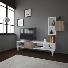 Television is an inescapable part of modern culture. We depend on TV for entertainment, news, education, culture, weather, sports—and even music, since the advent of music videos. To enjoy the overall aesthetic, you need to have the perrfect TV Unit on display! Get our ENEZ Sonoma and White TV Unit on our website for only $361.08  Tags: #doseofmodern #homedecor #furniture #decor #interior #homedesign #tv #furnituredesign #television #decoration #interiors #tvshow #instadesign #instahome… Tv Unit Furniture, Modern Furniture, Furniture Design, Furniture Decor, Simple Tv Unit Design, White Tv Unit, Bookshelves, Bookcase, House Design