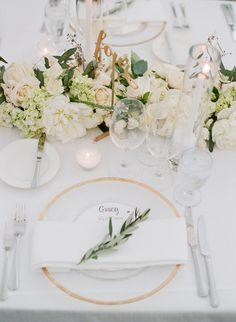 All white table setting: http://www.stylemepretty.com/2017/03/08/glam-napa-valley-vineyard-wedding/ Photography: Sylvie Gil - http://www.sylviegilphotography.com/