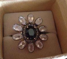 Vintage 18K Gold 9ctw Huge Black Sapphire Moonstone Rosecut Diamond ring #Handmade #Cocktail