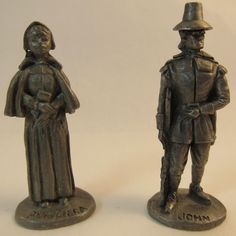 Plymouth Pewter Miniatures Priscilla and John Alden Pilgrims Figurines Mayflower Thanksgiving Decor Salem Witch Trials, Pilgrims, Antique Decor, May Flowers, Thanksgiving Decorations, Ancestry, Plymouth, Witches, Pewter