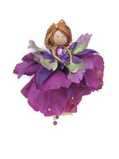 Fairy Ornament, Handmade Doll, Flower fairy Doll, Purple Green Ornament, Girl Room Decor, Birthday gift, Thank You Gift, Gift under 30