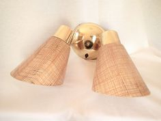 MCM Fiberglass Burlap Double Sconce Adjustable Light fixture complete original hardware & wiring. Single sconce sold separately see link by MyRetroRecollections on Etsy