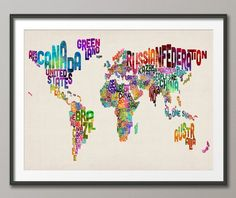 Typographic Text Map of the World Map, Art Print 18x24 inch (889). £14.99, via Etsy.