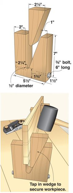 """For those occasions when you need a stable way to hold a board on its edge, turn to a tool that's as old as woodworking itself—the wedge. I fashioned the wedge stands shown at right from scraps of 2x6 and a 3/8x6"""" bolt and nut."""