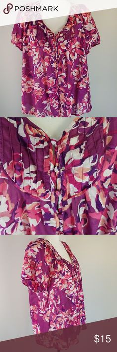 A. N. A. cotton/silk floral boho peasant blouse Button front purple and fuschia peasant blouse with short sleeves and pin tucks detail. 70% cotton 30% silk. Bust 48  Back length 24.5 a.n.a Tops Blouses