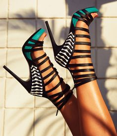 Teal and black heels #bebe