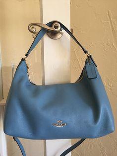 Coach F36628 E w Celeste Hobo Bag Bluejay Pebble Leather Convertible Xbody | eBay