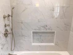 MSI Carrara 12 in. x 24 in. Glazed Porcelain Floor and Wall Tile sq. Bathtub Tile Surround, Marble Bathtub, Marble Tile Bathroom, Bathtub Walls, Bathroom Tub Shower, Small Bathroom, Master Bathroom, Bath Remodel, Bathroom Interior Design