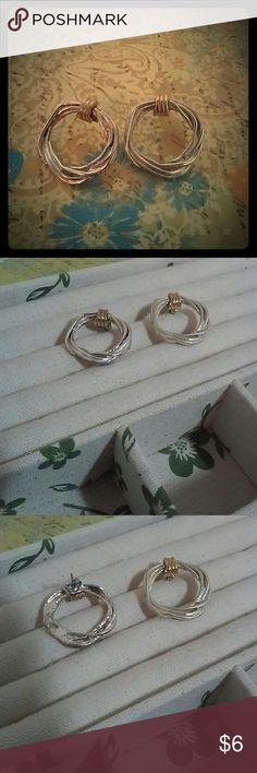 """Gold and Silver Round Pierced Earrings Cute pair of classic metal earrings designed with silver rings and gold loops. Made for pierced ears. The design is all one piece of cast metal, not separate rings.  Diameter of circle is 1"""". unknown Jewelry Earrings"""
