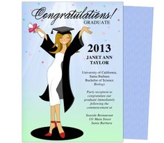 Cheer For the Graduate! Graduation Party Announcement Templates. Cute announcements printable DIY, edits with Word, Publisher, Apple iWork Pages, OpenOffice. Available in hair color brown, black, blonde, and red.