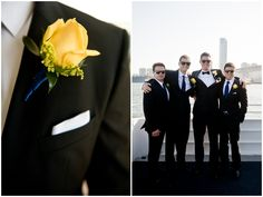Yellow Rose and Solidago Boutonnieres for a Nautical Wedding In San Francisco. Photos by Melanie Duerkopp Photography
