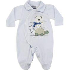 Macacão de Plush para Bebê e Recém Nascido Menino Cor Branca - Travessus :: 764 Kids | Roupa bebê e infantil