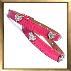 Sweet hearts croc collar, beautiful and popular collar complete with crystal encrusted hearts.